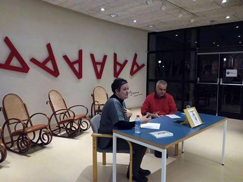 Anna Casado i Pau Martínez Farrero a la Biblioteca Santa Oliva